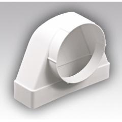 Соединитель 90° прямоугольного воздуховода 55х110 с фланцевым распределителем D100мм