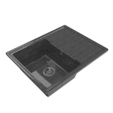 Мойка ML/ZX-GM Gloss 05 с крылом, черная 480*620*180 мм