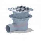 Трап горизонтальный регулируемый с выпуском 50мм, с нержавеющей решеткой 120*120 (с металлической окантовкой)