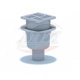 Трап вертикальный регулируемый с выпуском 50мм, с решеткой из пластика 100*100